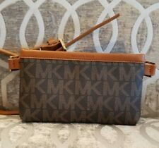 Michael Kors Belt Bag MK Signature Logo Fanny Pack Size M Brown Gold $68