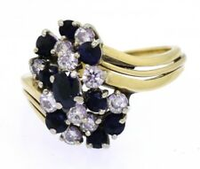 Heavy 18k gold 1.99ct VS/H diamond blue sapphire cluster cocktail ring size 8.75