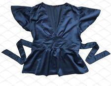 Sexy Angel Sleeves Blouse Top Blue Size 14 Self Ties Deep Neckline Slight Peplum