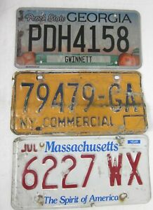 3 ROAD KILL licence/number plates USA MASSACHUSETTS NEW YORK GEORGIA Lot B1