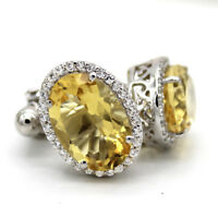 Natural Citrine Oval Cut Fine Cufflinks With CZ 925 Sterling Silver For Men