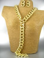 Glossy Gold Chain Fashion Necklace Earrings Costume Women Jewelry