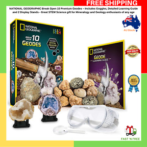 NATIONAL GEOGRAPHIC Break Open 10 Premium Geodes Includes Goggles & 2 Stands NEW