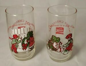 2 Coca-Cola Holly Hobbie Robby Merry Christmas Drinking Glasses 3 & 4 of 4 1978