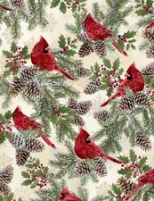 Holiday Christmas Cardinals Cream Cotton Fabric by Timeless Treasures