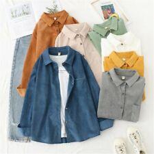 Women Corduroy Lady Girl's Blouse Lolita Tops Sweet Cute Casual Shirt