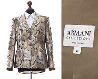 Women's ARMANI COLLEZIONI Blazer Coat Jacket Floral Patterned Silk Beige