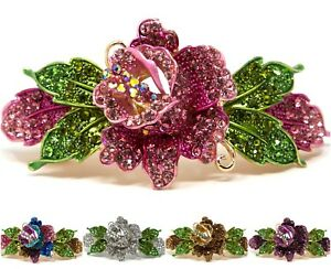 Woman metal Barrette rose flower rhinestones crystal hair clip bridal barrette