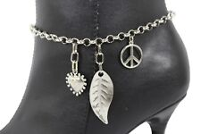Women Boot Bracelet Silver Metal Chain Shoe Leaf Peace Sign Heart Charms Bling
