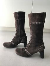 Fornarina 37 brown suede mid-calf women's boots w/ wood heel and white stitching
