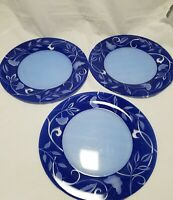 Arcopal France Frost White Blue Rim With Floral Pattern  Dinner Plates Set Of 3