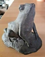Interesting, Cute Antique Cast Iron Doorstop FROG Unpainted Very Good Condition