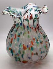 "Vintage 7"" Hand Blown Glass Art Vase Multi color Italian Decorative"