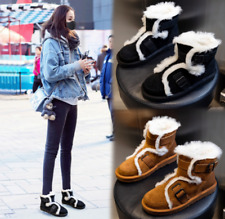 Women Fluffy Round Toe Buckle Flat Lined Ankle Snow Boot Winter Warm Buckle