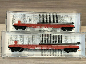 2 N scale Ringling Bros. Barnum & Bailey Circus- Fishbelly Side Flat Cars #57 52