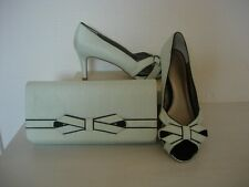 JACQUES VERT BOW TRIM SHOES  & MATCHING CLUTCH BAG -GREEN/ SIZE 8 -NEW