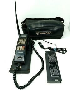 Vintage 90s Motorola Cellular Mobile Brick Phone w/ Transmitter Case SCN2395A