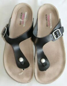 Skechers Relaxed Fit Memory Foam Black Flip Flop Sandals Women's Size 9