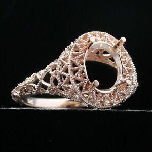 Engagement Wedding Semi Mount Oval 9x7mm Vintage Ring Setting 10K Rose Gold Fine