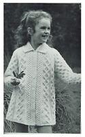 Child's coat knitting pattern in Aran yarn. Vintage pattern.