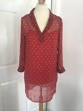 Mango Red Patterned Shirt Dress, Size XS