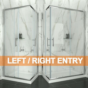 Corner Entry Shower Enclosure and Tray Sliding Door Walk In Cubicle 760-1200mm