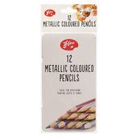 12 x 12 Pcs Artists Metallic Colour Pencils With Tin Box - Brand New