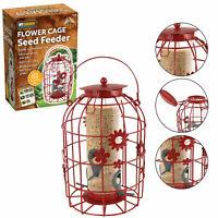 Flower Cage Bird Seed Peanut Fatball Feeder Garden Squirrel Proof Hanging Metal