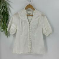 Anthropologie Odille Womens Short Sleeve Shirt Size 6 S White Darted Top Blouse