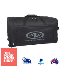 Large Duffle Bag w/ Wheels, (Black) Rolling Trolley Suitcase Travel Bags Luggage