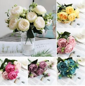 9 Heads Artificial Rose Flowers Silk Peony Bouquet Fake Wedding Home Party Deco