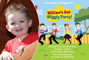 Personalised Wiggles Photo Invitations / 1st 2nd 3rd 4th Birthday Party Invites