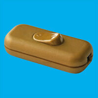 Gold 3 Core In line Lighting Lamp Rocker On Off Switch, 110 to 250V, 2A