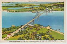 Mount Hope Bay Rhode Island Bridge Road Providence to Newport RI Vintage PC Rare