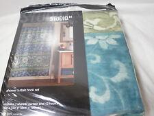 13 pcs Studio M. Sunil  Flower Shower Curtain and Hook Set ~ Aqua Teal Blue NEW