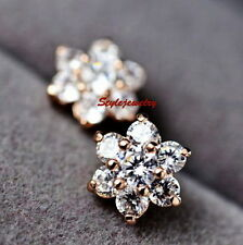 18k Rose Gold Filled Bridal Flower Stud Earring Made With Swarovski Crystal IE49
