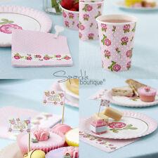 Vintage Rose Tea Party Set-Floral Rosa Kit: platos, servilletas, vasos de la Magdalena selecciones &