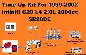 Tune Up Kit For 1999-2002 Infiniti G20 Spark Plug Wire Set, Engine Filter, Belt