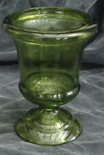 Great Vintage Green Glass Footed Vase, Very Good Condition, Pretty Shape