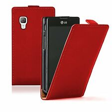 Ultra Slim RED Leather case cover pouch for LG E460 Optimus L5 II 2 / E450