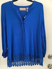 Life Style Woman BLUE  Tunic Top Embroiled hem 1X NWT