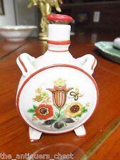 HUNGARIAN  ZSOLNAY  PORCELAIN CANTEEN FLASK BOTTLE flower decor,original cork[a8