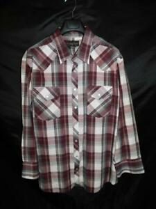 High Noon 2X Burgundy Red Plaid Western Snap Shirt Long Sleeve Chest Pockets 2XL