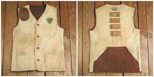 Vintage 1950s Trap Shooting Corduroy/Leather Vest Remington Award Patches Peters