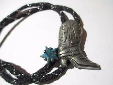 BOLO TIE FAUX TURQUOISE SPUR COWBOY BOOT DETAILED PEWTER DETAILED ETCHED DESIGN
