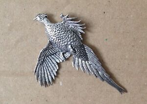 Large Pheasant Silver Pewter Pin Badge - Great Detail And Quality