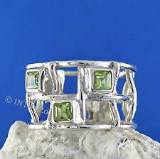 Echtschmuck-Ringe im Band-Stil aus Sterlingsilber mit Peridot für Damen