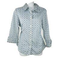 Talbots Womens Top Button Up Shirt Blue 3/4 Sleeve Size Medium Petite Career
