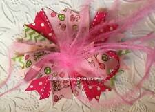 """Pink & Green Easter Bunny Eggs Feather Hair Bow 5"""""""