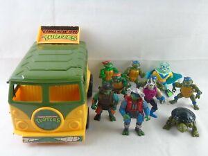 Vintage 90's Teenage Mutant Ninja Turtles TMNT Action Figure Bundle Samourai Van